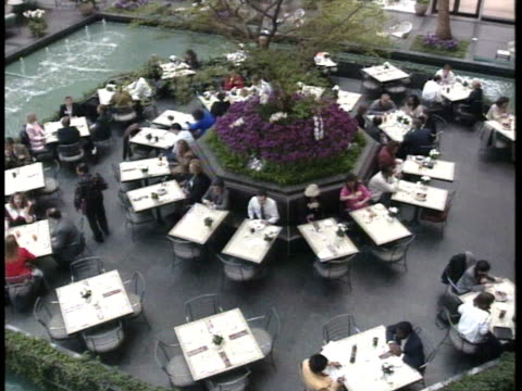 luxurious dining hall area surrounded by fountain pool people sitting at tables dining around octagon shape designed center area w/ plants tree hotel... - octagon stock videos and b-roll footage