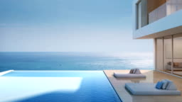 Luxury beach house with sea view swimming pool, Modern design of vacation home