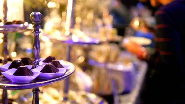 luxury catering food - buffet stock videos & royalty-free footage