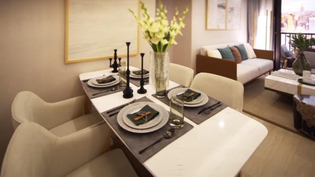 stockvideo's en b-roll-footage met luxe eetkamer interieur - dining room
