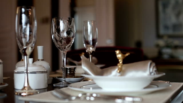 luxury dishwares on table in living room, real time.