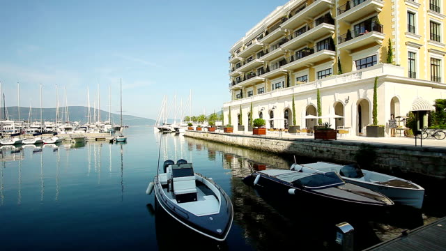 luxury district and the pier full of yachts - montenegro stock videos & royalty-free footage