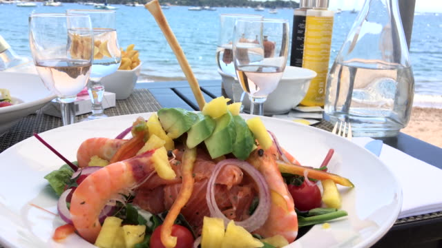 luxury fresh lunch front of mediterranean sea - mediterranean food stock videos & royalty-free footage