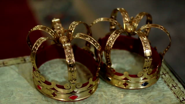 luxury golden crowns for the wedding ceremony - crown headwear stock videos and b-roll footage