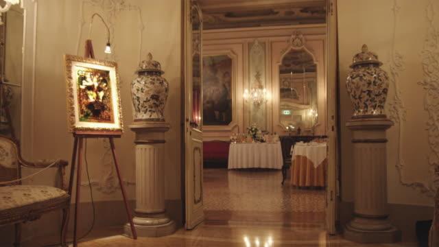ws ds. luxury hotel interior / venice, italy - lobby stock videos & royalty-free footage