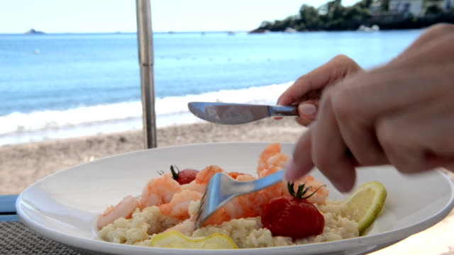 luxury lunch at beach - seafood stock videos & royalty-free footage