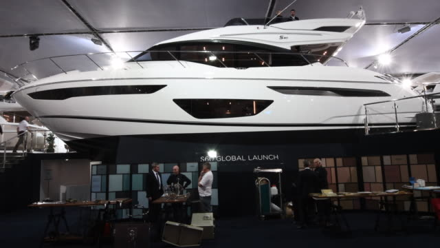 a luxury motor boat at the annual london boat show at excel on january 6 2017 in london england the show runs from the 6th to 15th january and is now... - london boat show stock videos and b-roll footage