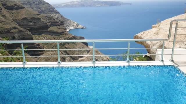 Luxury pool & view on Aegean seascape