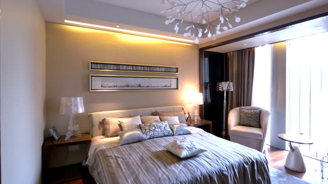luxury sample bedroom and decoration, real time. - modern bedroom stock videos & royalty-free footage