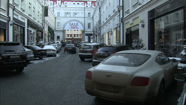 luxury shops in moscow, russia are seen. - luxury stock videos & royalty-free footage