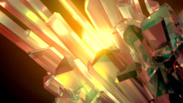 luxury sparkling gemstone. colored shiny rotating crystal. the light passes through the facets of a slowly rotating diamond. abstract artistic background with a depth of field. 3d rendering. hd - quartz stock videos & royalty-free footage