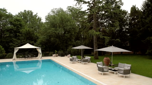 luxury villa with swimming pool - gazebo stock videos and b-roll footage
