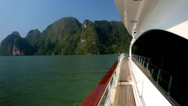 luxury yacht exterior deck - phang nga bay stock videos and b-roll footage