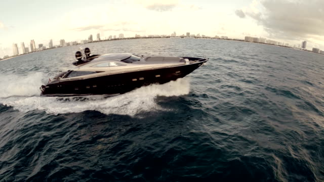 Luxury Yacht from Drone going past south Beach Miami