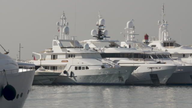 luxury yachts in the harbour at cannes - yacht stock videos & royalty-free footage
