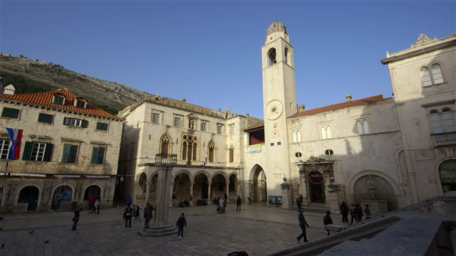 luza old bell tower & rectors palace old town, dubrovnik, croatia - circa 14th century stock videos & royalty-free footage