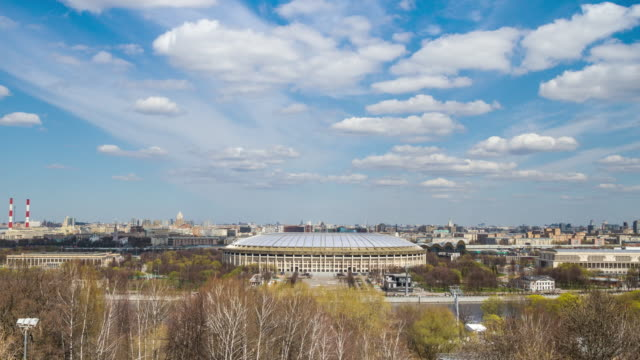 luzhniki stadium, moscow, russia. time lapse - luzhniki stadium stock videos & royalty-free footage