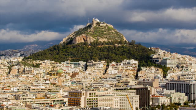 lycabettus hill. athens cityscape. 4k time lapse - lycabettus hill stock videos & royalty-free footage