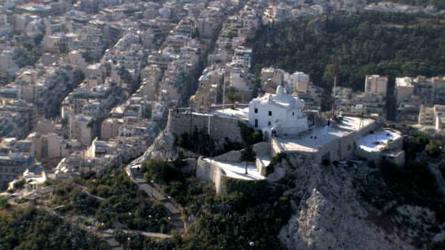 ms aerial ds ts lycabettus mountain with saint george chapel on top /  likavitus, lycabettus, athens, greece - lycabettus hill stock videos & royalty-free footage