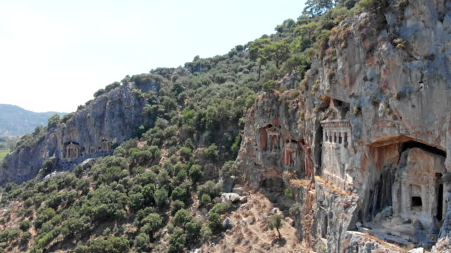 lycian rock tombs in dalyan - old ruin stock videos & royalty-free footage