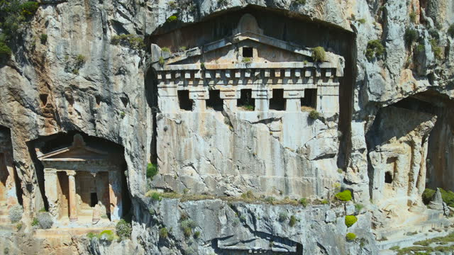 lycian rock tombs in dalyan - monument stock videos & royalty-free footage