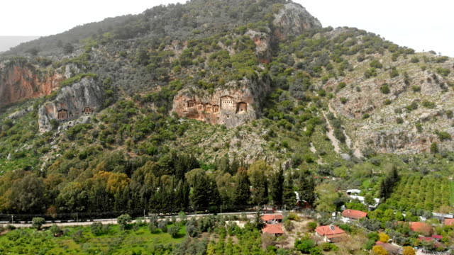 lycian rock tombs in dalyan - dalyan stock videos and b-roll footage