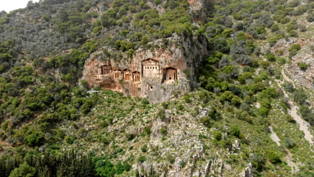 lycian rock tombs in dalyan - fethiye stock videos and b-roll footage