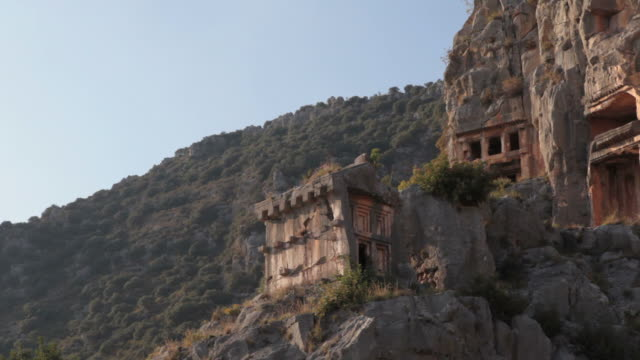lycian rock tombs of myra - selimaksan stock videos & royalty-free footage
