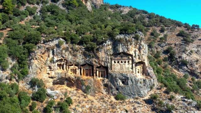 lycian tombs in dalyan, mugla - old ruin stock videos & royalty-free footage