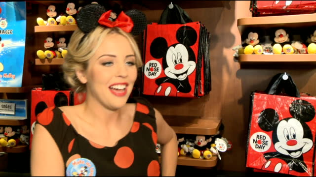 vídeos y material grabado en eventos de stock de lydia bright launches disney uk's comedy magic fundraising campaign for red nose day; lydia bright interview sot - red nose day