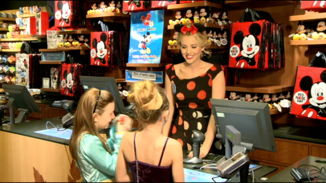 vídeos y material grabado en eventos de stock de lydia bright launches disney uk's comedy magic fundraising campaign for red nose day; england: london: oxford street: disney store: int gv red nose... - red nose day