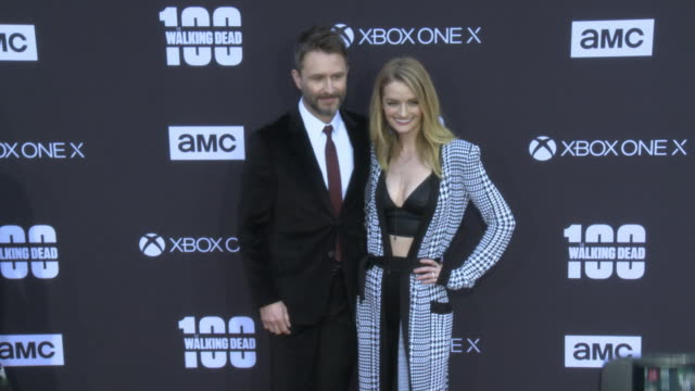 Lydia Hearst and Chris Hardwick at the AMC's The Walking Dead 100th Episode Season 8 Special Premiere Screening at The Greek Theatre on October 22...