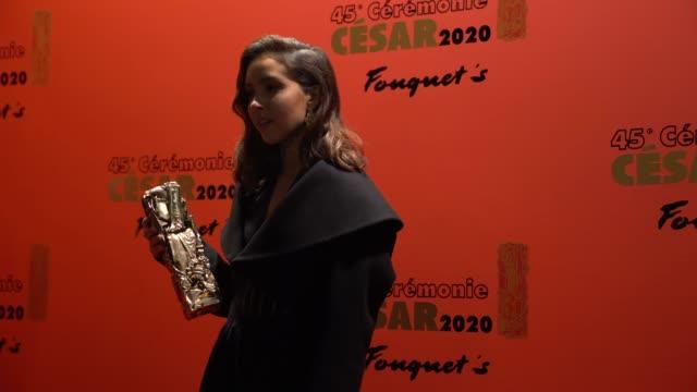 vidéos et rushes de lyna khoudri attends the dinner at le fouquet's, as part of the cesar film awards 2020, on february 28, 2020 in paris, france. - cesar
