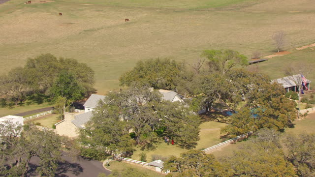 ws aerial zo lyndon b johnson ranch house in national historical park / texas, united states - ranch stock videos & royalty-free footage