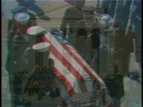 lyndon baines johnson's flag-draped coffin is removed from a hearse and carried to national city christian church in washington, dc. - 1973 stock videos & royalty-free footage