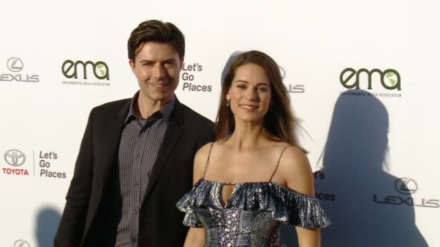 lyndsy fonseca and noah bean at the 27th annual environmental media association awards at barker hangar on september 23 2017 in santa monica... - barker hangar stock videos & royalty-free footage