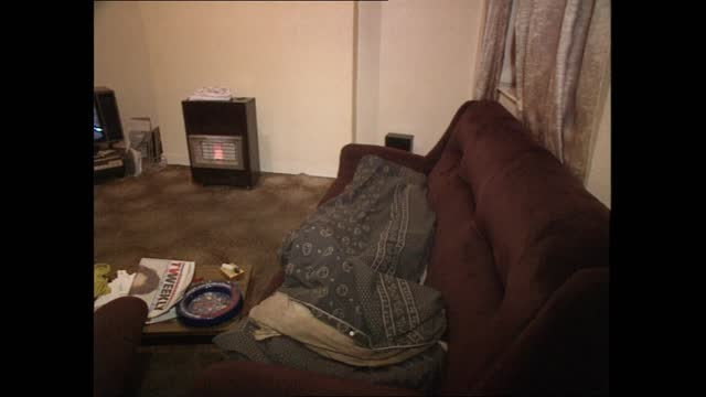 cardiff three: cardiff gvs / witness interviews; wales: cardiff: gvs interior flat where murder took place: lounge: from ceiling to lounge furniture:... - murder stock videos & royalty-free footage