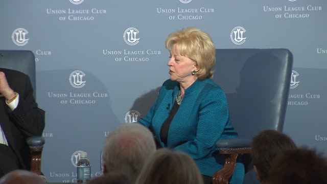 lynne and dick cheney at chicago's union league club for lynne's book tour on may 15, 2014 in chicago, illinois. - ジェームズ・マディソン点の映像素材/bロール