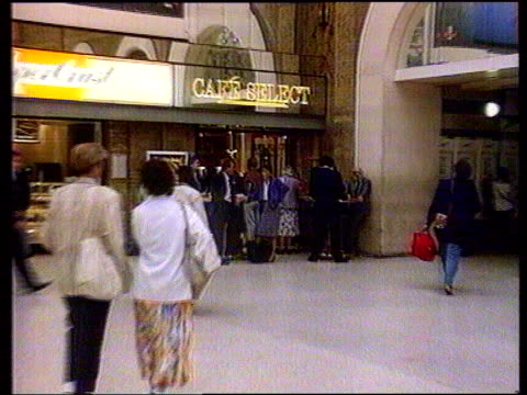 lynne rogers murder trial begins itn lib charing cross ms people in cafe next to station where singleton is alleged to have lured lynne lms people... - charing cross stock videos and b-roll footage
