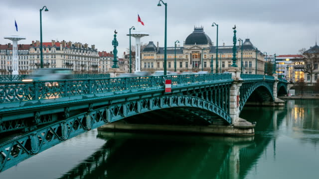 Lyon bridge along Rhone river