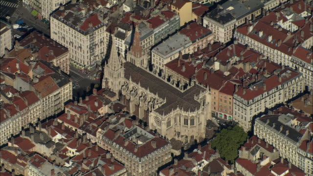 aerial, lyon cathedral, rhone-alpes, france - rhone alpes stock videos & royalty-free footage