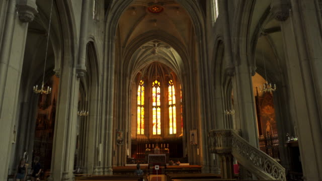 lyon church saint-jean internal tracking shot - christianity stock videos & royalty-free footage