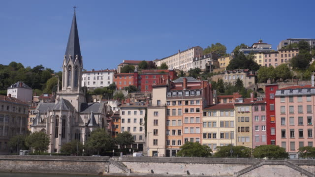 Lyon old town skyline tracking shot