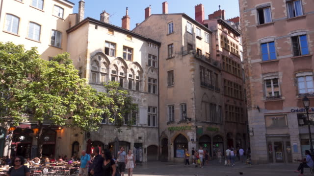 lyon the ancient old town tracking shot - francia video stock e b–roll
