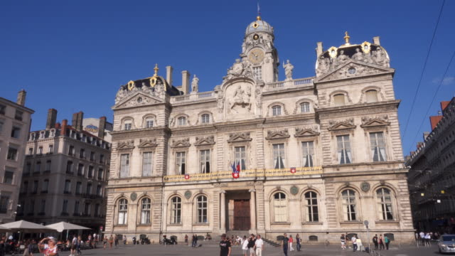 lyon town hall tracking shot - town hall stock videos & royalty-free footage
