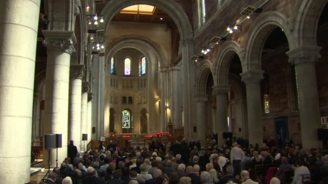 politicians attend funeral of murdered journalist northern ireland belfast st anne's cathedral down funeral service - murder victim stock videos & royalty-free footage
