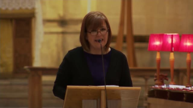 politicians attend funeral of murdered journalist northern ireland belfast st anne's cathedral int nichola corner speech sot funeral guests including... - leo varadkar stock videos and b-roll footage