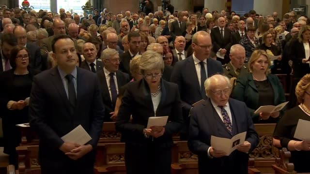 politicians attend funeral of murdered journalist northern ireland belfast st anne's cathedral int irish prime minister leo varadkar prime minister... - leo varadkar stock videos and b-roll footage