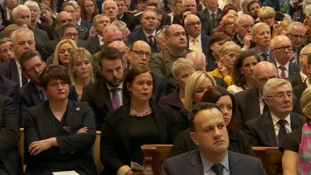 politicians attend funeral of murdered journalist; father martin magill speaking sot - the death of a 29 year old women, with her whole life in front... - congregation stock videos & royalty-free footage