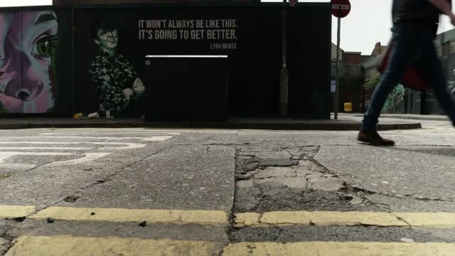 lyra mckee's partner calls for legalisation of samesex marriage in northern ireland northern ireland belfast mural on wall in memory of journalist... - legalisation stock videos & royalty-free footage